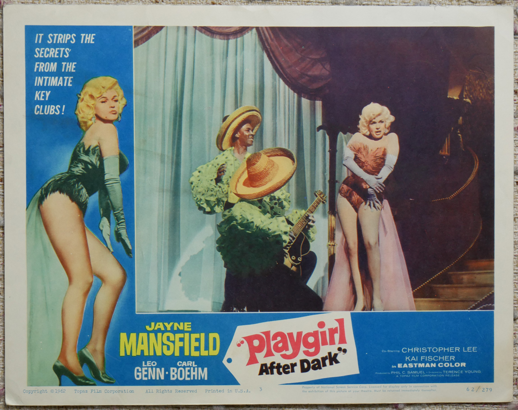 """KerrisdaleGallery.com - Stock ID#MPLCx1PLY62ph - """"Playgirl After Dark"""" (1962, Topaz, filmed in UK, poster for USA, NSS#62/279)- Original Vintage Movie Poster Lobby Card, single Number 3 - full view - Neo-noir thriller starring Jayne Mansfield. Directed by Terence Young."""