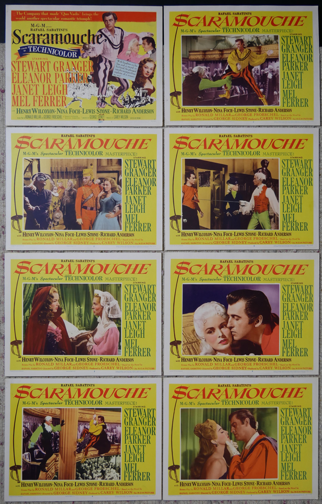 """KerrisdaleGallery.com - Stock ID#MPLCx8SCA52ph - """"Scaramouche"""" (1952, MGM, USA, NSS#52/203)- Original Vintage Movie Poster Lobby Cards, Set of 8 - full view - Swashbuckler starring Stewart Granger, Eleanor Parker, Janet Leigh, Mel Ferrer. Directed by George Sidney."""