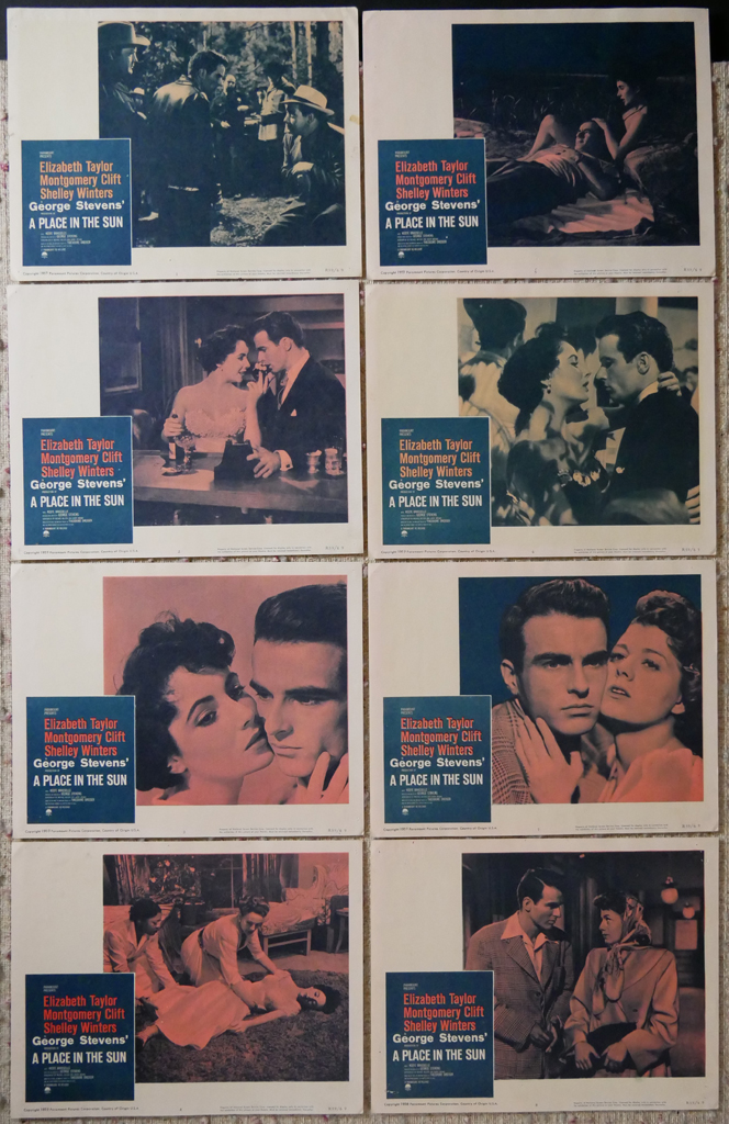 """KerrisdaleGallery.com - Stock ID#MPLCx8SUN59ph - """"A Place in the Sun"""" (1959 re-release, Paramount, USA, NSS#R59/60)- Original Vintage Movie Poster Lobby Cards, Set of 8 - full view - Drama starring Elizabeth Taylor, Montgomery Clift, Shelley Winters. Directed by George Stevens."""