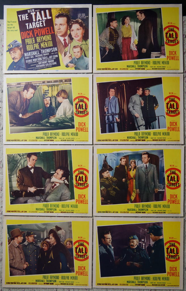 """KerrisdaleGallery.com - Stock ID#MPLCx8TAL51ph - """"The Tall Target"""" (1951, MGM, USA, NSS#51/443)- Original Vintage Movie Poster Lobby Cards, Set of 8 - full view - Crime drama starring Dick Powell, Paula Raymond, Adolphe Menjou. Directed by Anthony Mann."""