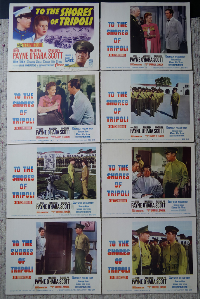"""KerrisdaleGallery.com - Stock ID#MPLCx8TRI52ph - """"To The Shores of Tripoli"""" (1952 re-release, 20thC-Fox, USA, NSS#R52/214)- Original Vintage Movie Poster Lobby Cards, Set of 8 - full view - War drama starring John Payne, Maureen O'Hara, Randolph Scott. Directed by H. Bruce Humberstone."""