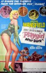 """KerrisdaleGallery.com - Stock ID#MPOSCx1PLY62pv - """"Playgirl After Dark"""" (1962, Topaz, filmed in UK, poster for USA, NSS#62/279)- Original Vintage Movie Poster One Sheet/folded 1-SH, 41 x 27 inches - feature view - Neo-noir thriller starring Jayne Mansfield, Leo Genn, Carl Boehm. Directed by Terence Young."""