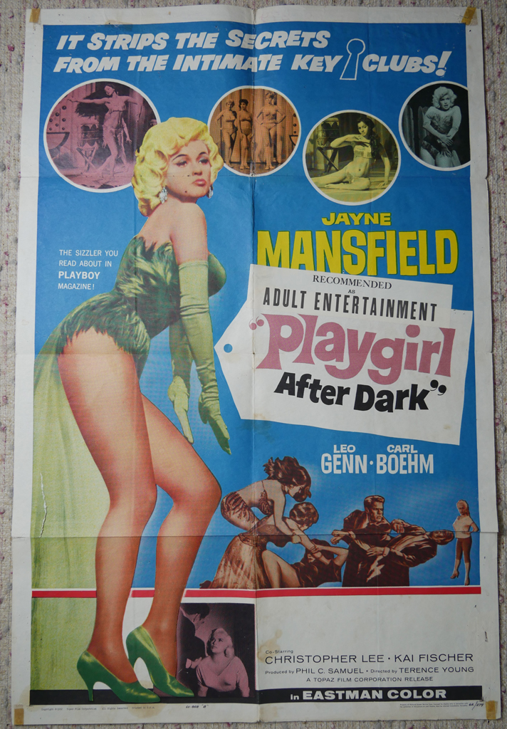 """KerrisdaleGallery.com - Stock ID#MPOSCx1PLY62pv - """"Playgirl After Dark"""" (1962, Topaz, filmed in UK, poster for USA, NSS#62/279)- Original Vintage Movie Poster One Sheet/folded 1-SH, 41 x 27 inches - full view - Neo-noir thriller starring Jayne Mansfield, Leo Genn, Carl Boehm. Directed by Terence Young."""