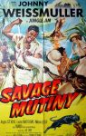 """KerrisdaleGallery.com - Stock ID#MPOSx1AV53pv - """"Savage Mutiny"""" (1953, Columbia, USA, NSS#53/9)- Original Vintage Movie Poster One Sheet/folded 1-SH, 27 x 41 inches - feature view - Action adventure starring Johnny Weissmuller, Angela Stevens. Directed by Spencer Gordon."""