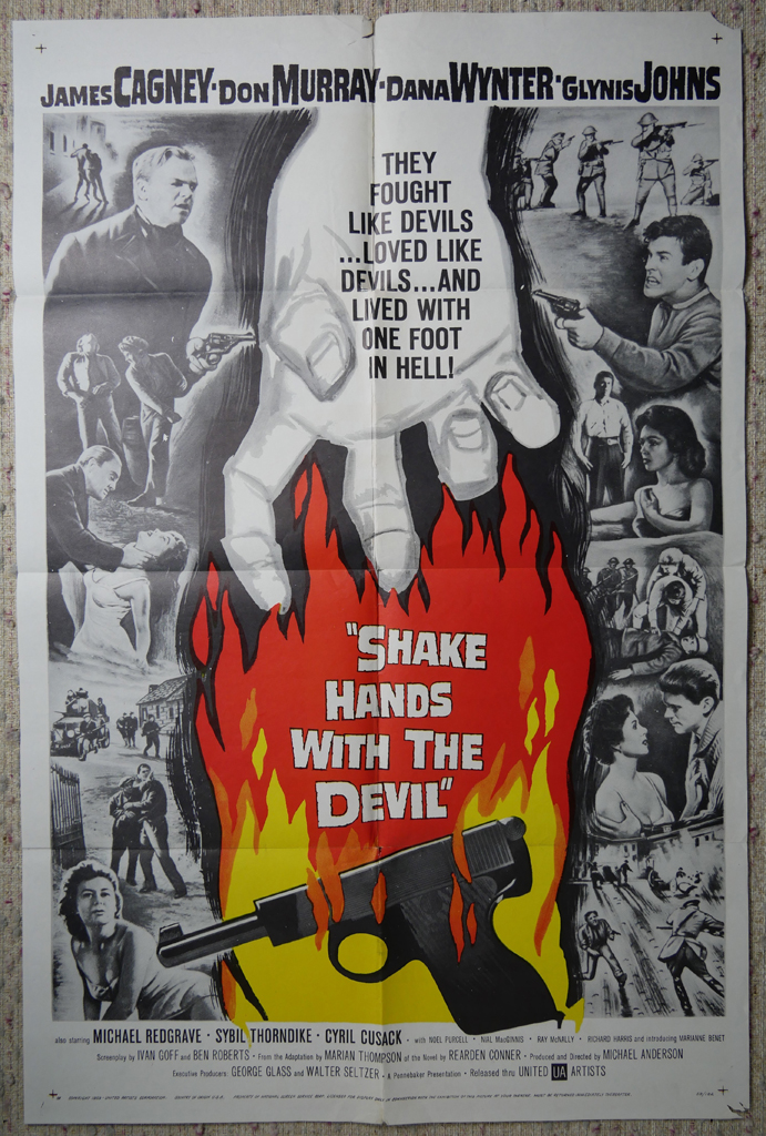 """KerrisdaleGallery.com - Stock ID#MPOSx1SHA59pv - """"Shake Hands With The Devil"""" (1959, UA, Filmed in Ireland, poster for USA, NSS#59/182)- Original Vintage Movie Poster One Sheet/folded 1-SH, 41 x 27 inches - full view - Action drama starring James Cagney, Don Murray, Dana Winter, Glynis Johns. Directed by Michael Anderson."""