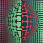"""KerrisdaleGallery.com - Stock ID#VV068ss-sn """"untitled: Red Green Circles"""" by Victor Vasarely, feature image -original serigraph, ca. 1970, numbered 68/267, signed by artist"""
