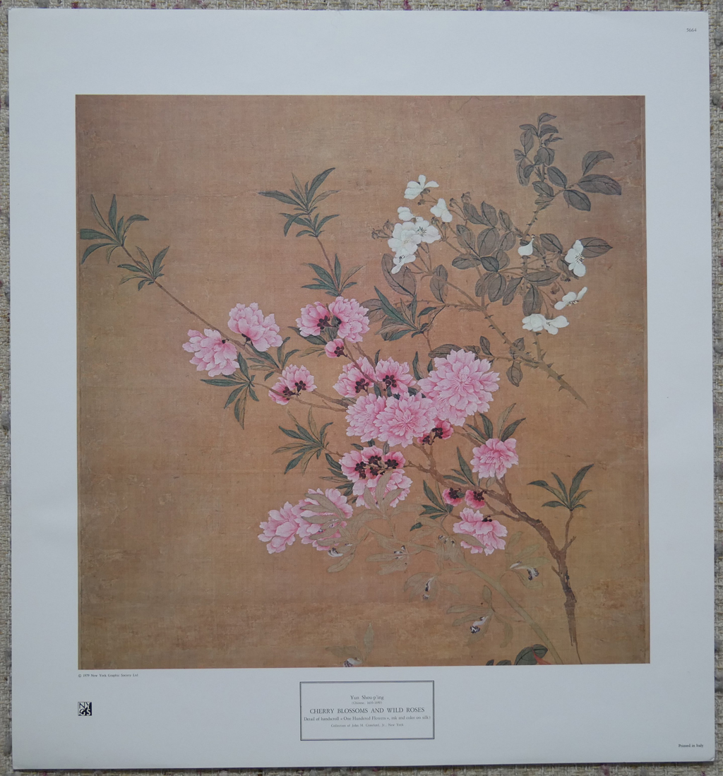 """KerrisdaleGallery.com - Stock ID#AS664ps """"Cherry Blossoms and Wild Roses"""" by Yun Shou-p'ing, shown with full margins - collectible vintage offset lithograph fine art reproduction published by New York Graphic Society, printed in Italy"""