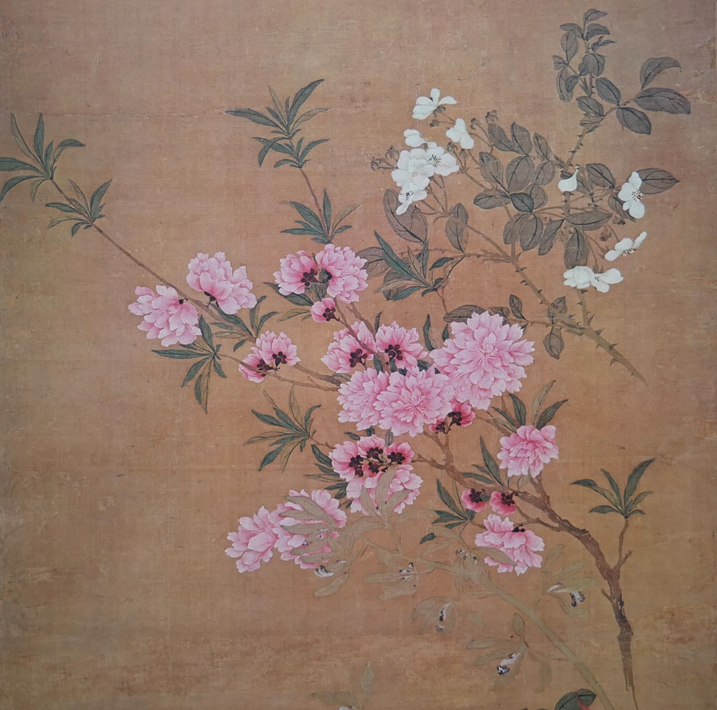 """KerrisdaleGallery.com - Stock ID#AS664ps """"Cherry Blossoms and Wild Roses"""" by Yun Shou-p'ing (detail of """"One Hundred Flowers"""" handscroll) - collectible vintage offset lithograph fine art reproduction published by New York Graphic Society, printed in Italy"""