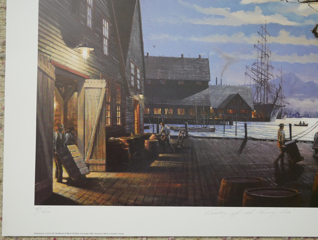 """KerrisdaleGallery.com - Stock ID#HJ057ph-snt - """"Loading for the Morning Tide"""" by John M. Horton C.S.M.A. F.C.A., detail to show edition, title, publisher and condition - vintage 1987 limited edition print, offset lithograph, signed by artist, numbered 57/450"""
