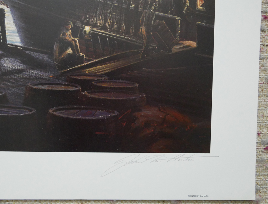 """KerrisdaleGallery.com - Stock ID#HJ057ph-snt - """"Loading for the Morning Tide"""" by John M. Horton C.S.M.A. F.C.A., detail to show artist signature - vintage 1987 limited edition print, offset lithograph, signed by artist, numbered 57/450"""