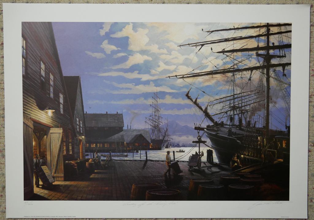 """KerrisdaleGallery.com - Stock ID#HJ057ph-snt - """"Loading for the Morning Tide"""" by John M. Horton C.S.M.A. F.C.A., shown with full margins - vintage 1987 limited edition print, offset lithograph, signed by artist, numbered 57/450"""