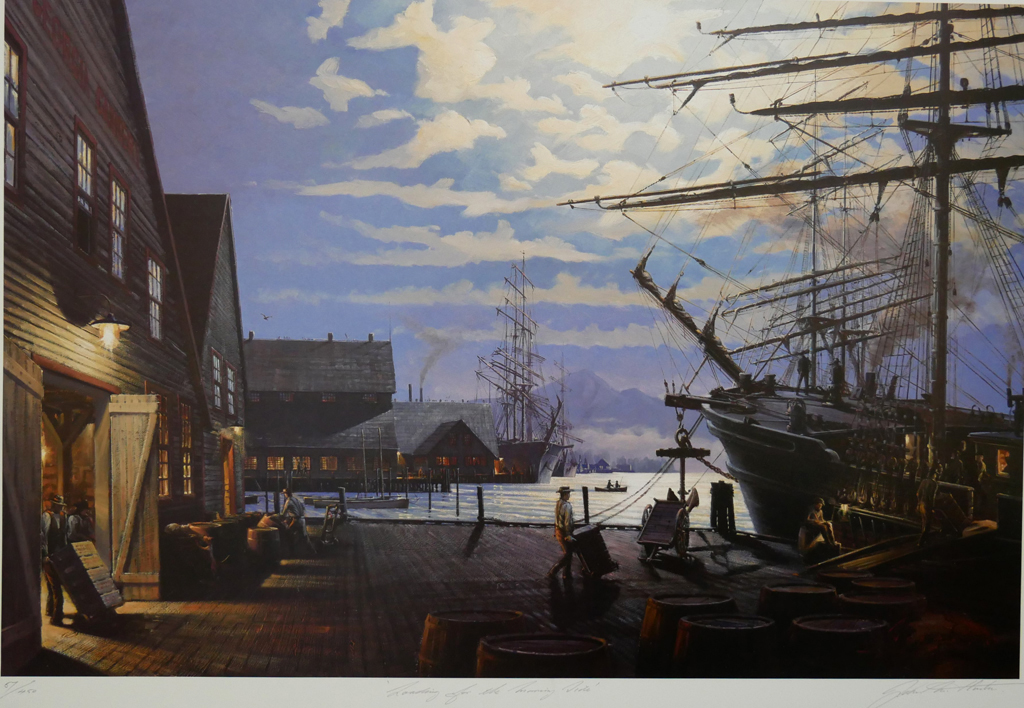 """KerrisdaleGallery.com - Stock ID#HJ057ph-snt - """"Loading for the Morning Tide"""" by John M. Horton C.S.M.A. F.C.A. - vintage 1987 limited edition print, offset lithograph, signed by artist, numbered 57/450"""